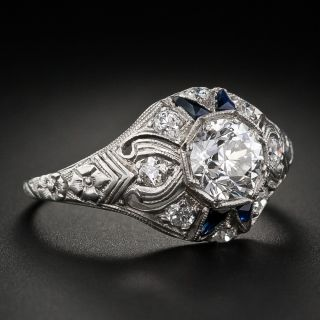 Art Deco .86 Carat Diamond and Sapphire Solitaire - GIA I VS1