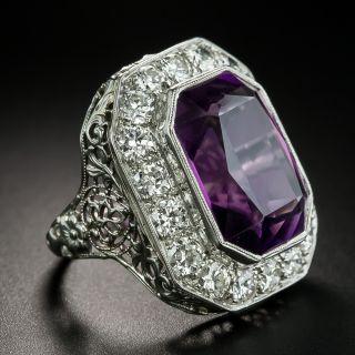 Art Deco 9.75 Carat Amethyst and Diamond Ring