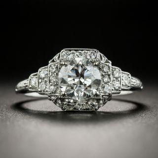 Art Deco .90 Carat Diamond Wedding Set, GIA D VS1
