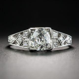Art Deco .91 Carat Diamond Platinum Engagement Ring - GIA H VS2 - 1