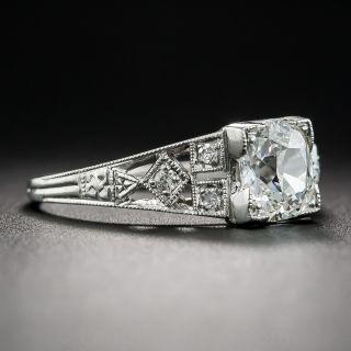 Art Deco .91 Carat Diamond Platinum Engagement Ring - GIA H VS2