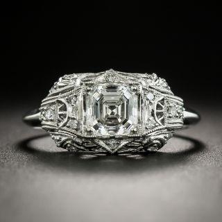 Art Deco .92 Carat Asscher-Cut Diamond Platinum Engagement Ring - GIA G VVS2 - 2