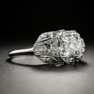 Art Deco .92 Carat Asscher-Cut Diamond Platinum Engagement Ring - GIA G VVS2