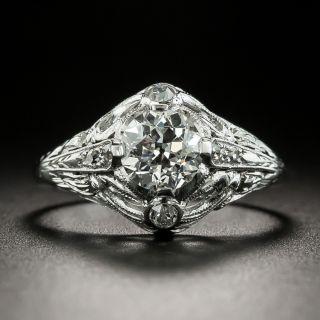 Art Deco .93 Carat Diamond Engagement Ring -  GIA E VVS1 - 2