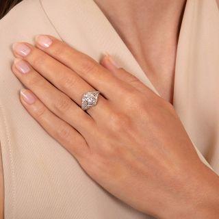 Art Deco .93 Carat Diamond Engagement Ring -  GIA E VVS1