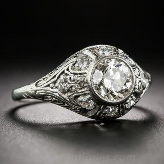 Art Deco .95 Carat Carat Diamond Platinum Engagement Ring