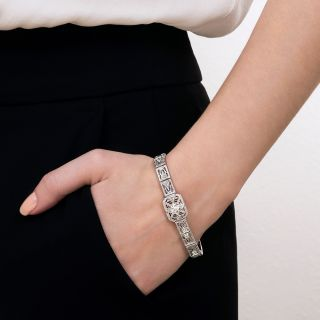 Art Deco .95 Carat Center Diamond Filigree Bracelet
