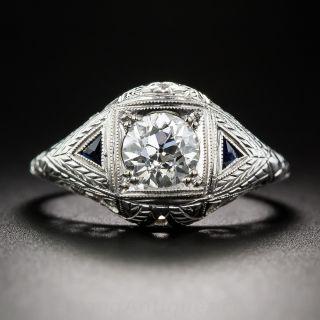Art Deco .95 Carat Diamond Engagement Ring - 1