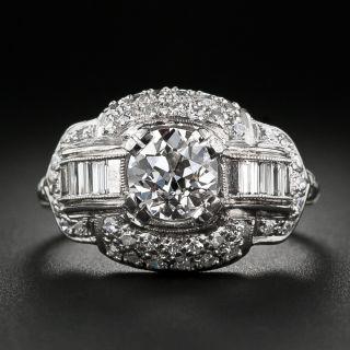 Art Deco .96 Carat Diamond Engagement Ring - GIA H SI1 - 2