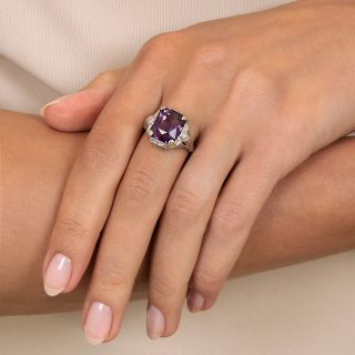 Art Deco Amethyst and Diamond Filigree Ring