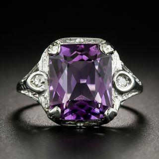 Art Deco Amethyst and Diamond Filigree Ring - 2