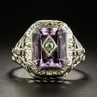 Art Deco Amethyst and Diamond Ring - 3