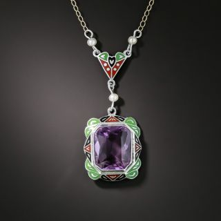 Art Deco Amethyst, Enamel and Pearl Necklace - 2