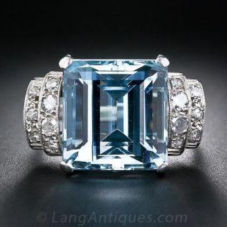 Art Deco Aqua and Diamond Ring