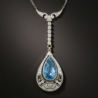 Art Deco Aquamarine and Diamond Lavaliere  - 2