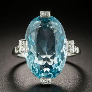 Art Deco Aquamarine and Diamond Ring - 2