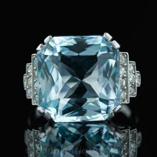 Art Deco Aquamarine   Diamond Ring C.1930 s Main View