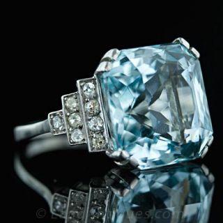 Art Deco Aquamarine & Diamond Ring C.1930's