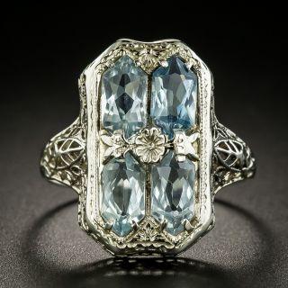 Art Deco Aquamarine Filigree Ring - 2