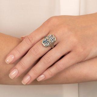 Art Deco Aquamarine Filigree Ring