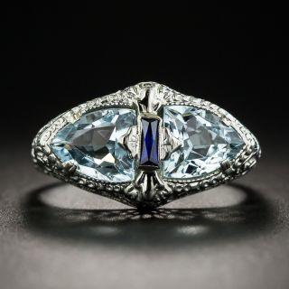 Art Deco Aquamarine Ring By Belais - 1