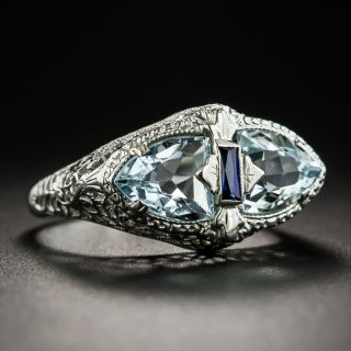 Art Deco Aquamarine Ring By Belais