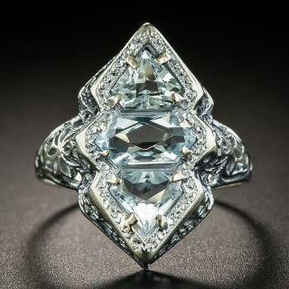 Art Deco Aquamarine Three-Stone Filigree Ring - 2