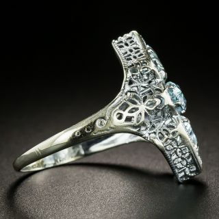 Art Deco Aquamarine Three-Stone Filigree Ring