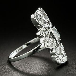 Art Deco Asymmetrical Diamond Dinner Ring