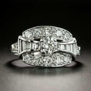 Art Deco Baguette and Round Diamond Bow Ring - 1