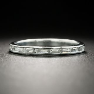 Art Deco Baguette Diamond Wedding Band, Size 5 1/2 - 1