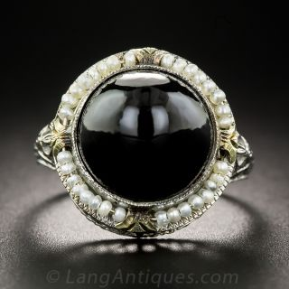 Art Deco Black Onyx and Seed Pearl Ring