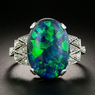 Art Deco Black Opal and Diamond Ring - 2