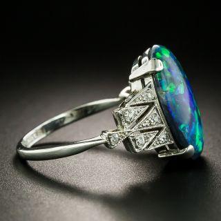 Art Deco Black Opal and Diamond Ring