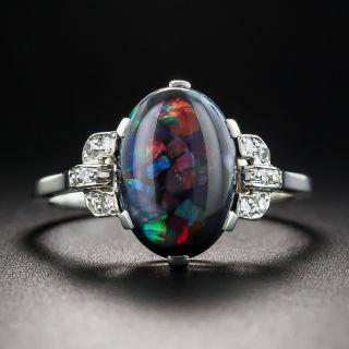 Art Deco Black Opal Platinum Diamond Ring