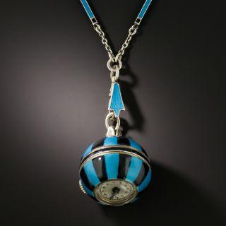 Art Deco Blue and Black Enamel Pendant Watch Necklace - 1