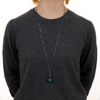 Art Deco Blue and Black Enamel Pendant Watch Necklace