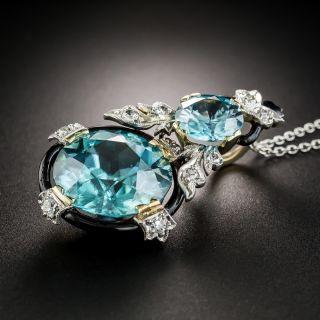 Art Deco Blue Zircon Diamond Pendant Necklace