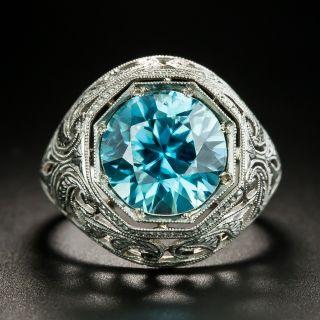 Art Deco Blue Zircon Ring - 2