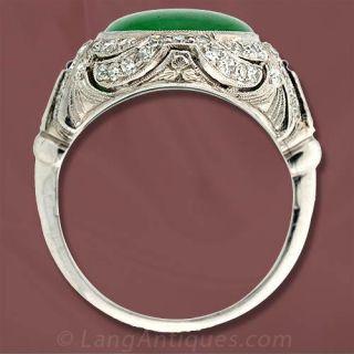 Art Deco Burmese Jade Diamond Ring