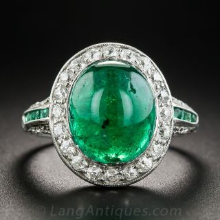 Art Deco Cabochon Emerald and Diamond Ring