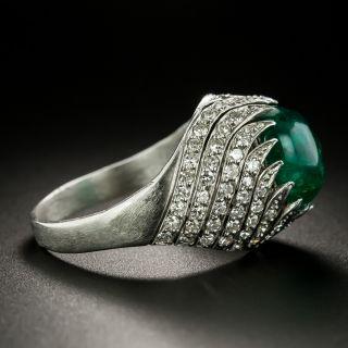 Art Deco Cabochon Emerald and Diamond Swirl Ring