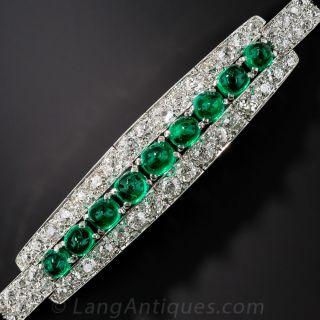 Art Deco Cabochon Emerald Diamond Platinum Bracelet - 1
