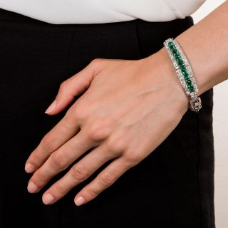 Art Deco Cabochon Emerald Diamond Platinum Bracelet