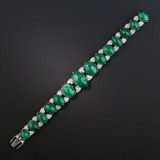 Art Deco Cabochon Emerald Platinum Diamond Bracelet - 75 Carats - 3
