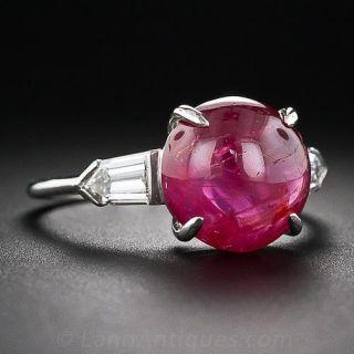 Art Deco Cabochon Ruby Platinum Diamond Ring