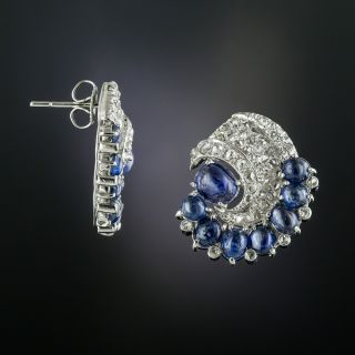 Art Deco Cabochon Sapphire and Diamond Earrings - 2