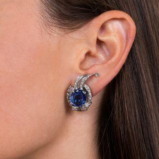 Art Deco Cabochon Sapphire Platinum Diamond Earrings