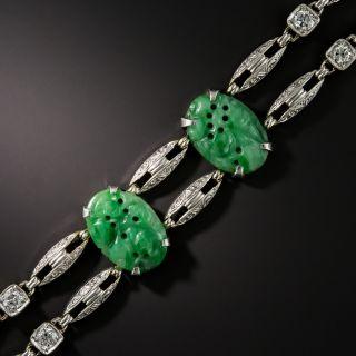 Art Deco Carved Jade and Diamond Bracelet - 2