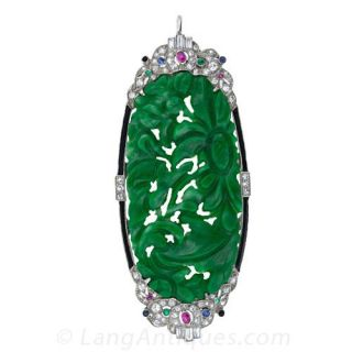 Art Deco Carved Jade Art Deco Pin / Pendant  - 1